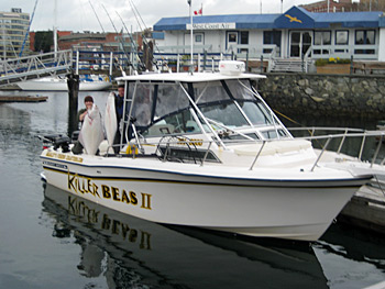 The boat 'Killer Beas II' at the dock